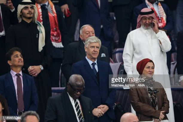 Arsene Wenger the head of global football development at FIFA looks on from the stands during the FIFA Club World Cup Qatar 2019 Final match between...
