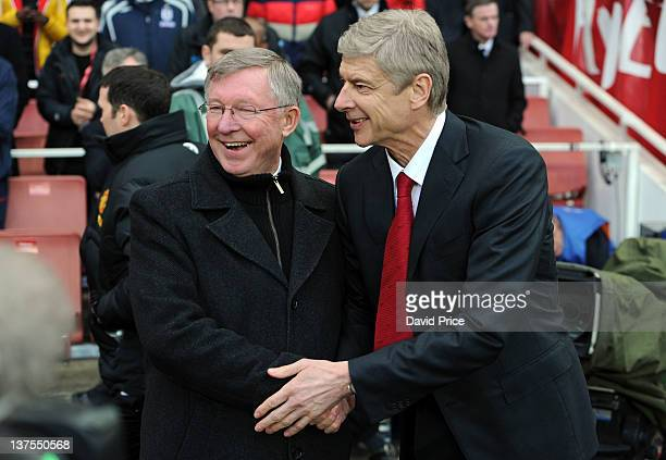 Arsene Wenger the Manager of Arsenal and Alex Ferguson the Manager of Manchester United shake hands before the Barclays Premier League match between...