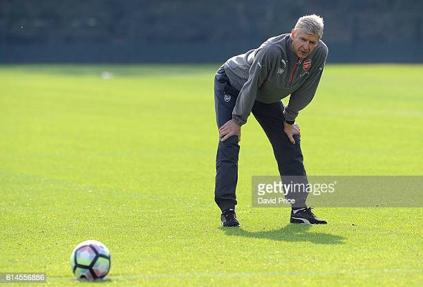 Arsene Wenger the Manager of Arsenal during Arsenal Training Session at London Colney on October 14, 2016 in St Albans, England.