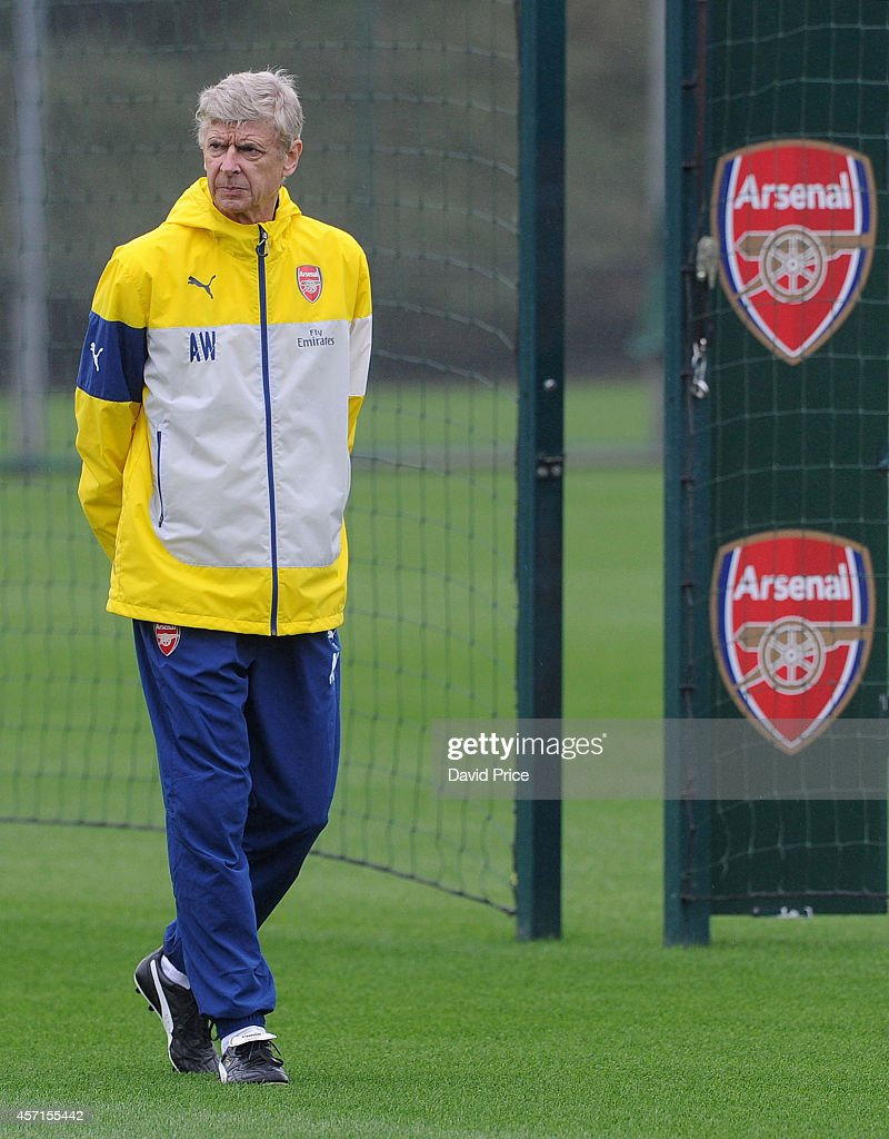 Arsene Wenger the Manager of Arsenal during the Arsenal 1st team training session at London Colney on October 13, 2014 in St Albans, England.
