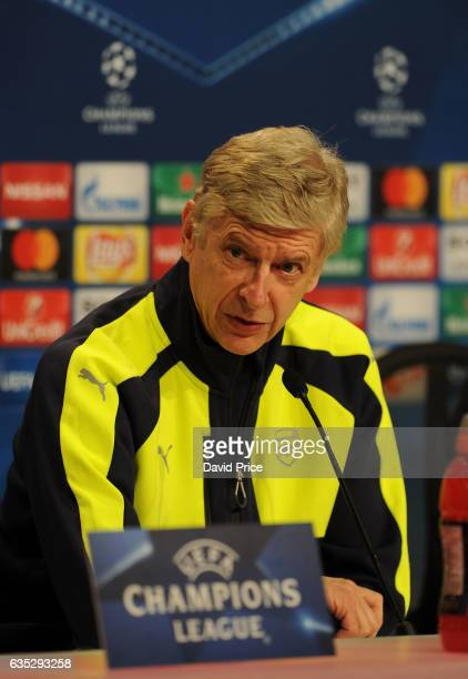 Arsene Wenger the Manager of Arsenal during the Arsenal Press Conference at Allianz Arena on February 14 2017 in Munich Germany