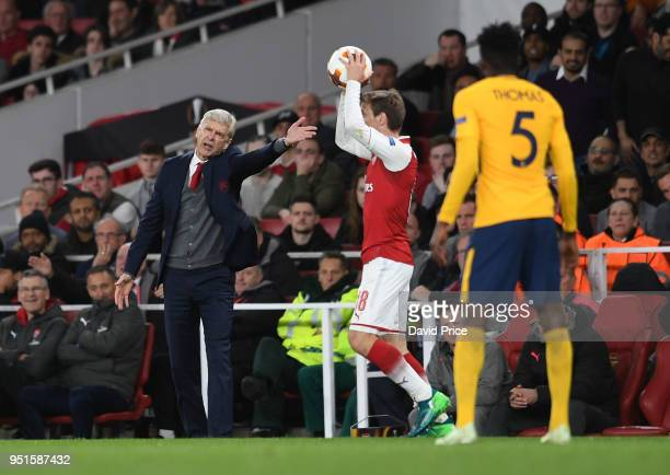 Arsene Wenger the Manager of Arsenal during the UEFA Europa League Semi Final leg one match between Arsenal FC and Atletico Madrid at Emirates...