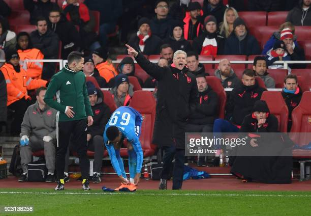 Arsene Wenger the Manager of Arsenal during UEFA Europa League Round of 32 match between Arsenal and Ostersunds FK at the Emirates Stadium on...