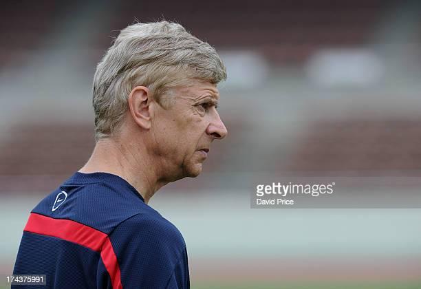 Arsene Wenger the Manager of Arsenal FC in Japan for the club's preseason Asian tour at the Urawa Komaba Stadium on July 25 2013 in Saitama Japan