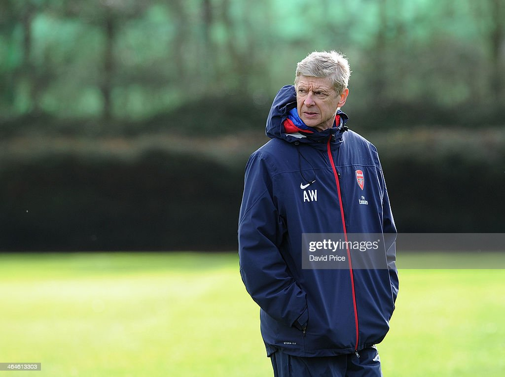 Arsene Wenger the Manager of Arsenal looks on during Arsenal Training Session at London Colney on January 23, 2014 in St Albans, England.