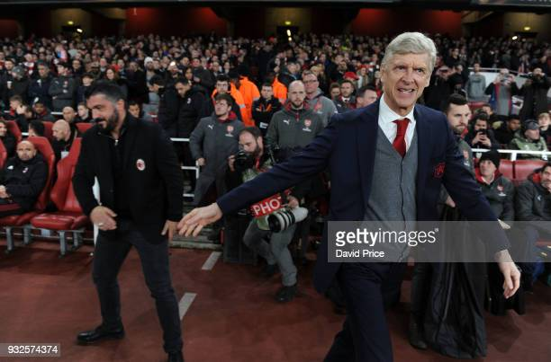 Arsene Wenger the Manager of Arsenal shakes hands with the Manager Gennaro Gattuso of AC Milan before the match between Arsenal and AC Milan at...