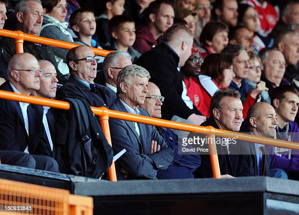 Arsene Wenger the Manager of Arsenal watches the NextGen Series match between Arsenal and Marseille at Underhill Stadium on August 29 2012 in Barnet...