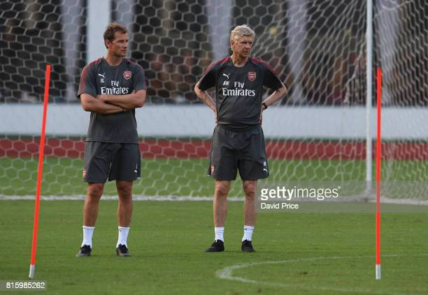 Arsene Wenger the Manager of Arsenal with 1st team coach Jens Lehmann during an Arsenal Training Session at Yuanshen Sports Centre Stadium on July 17...