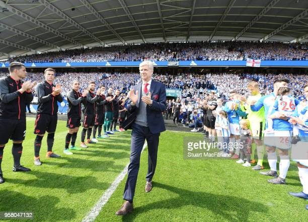Arsene Wenger walks out for his last game as Arsenal manager the Premier League match between Huddersfield Town and Arsenal at John Smith's Stadium...