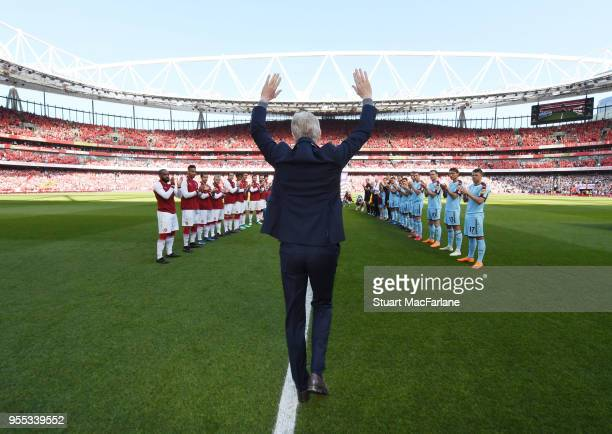 Arsene Wenger walks out for the last time at Emirates stadium as Arsenal manager before the Premier League match between Arsenal and Burnley at...