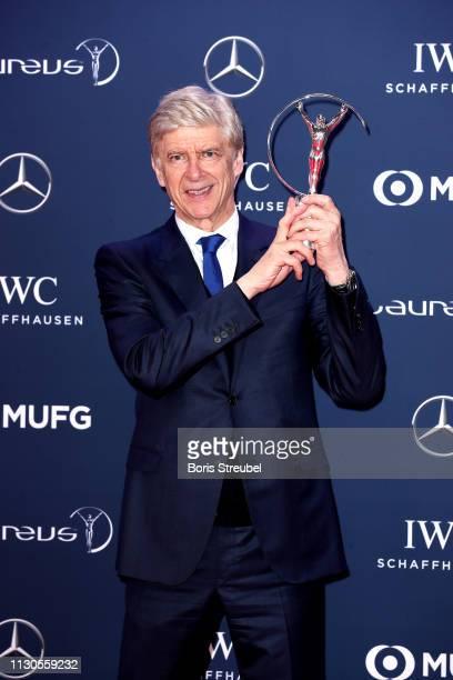 Arsene Wenger winner of the Laureus Lifetime Achievement award poses during the 2019 Laureus World Sports Awards on February 18, 2019 in Monaco,...