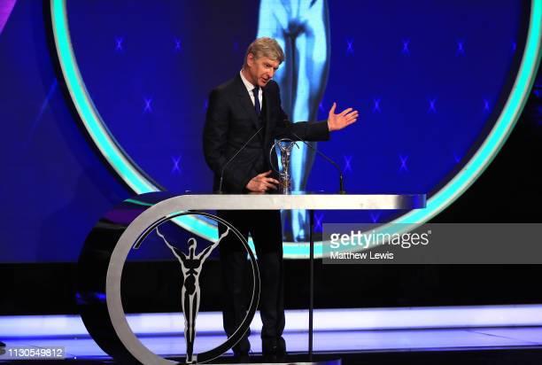 Arsene Wenger winner of the Laureus Lifetime Achievement award speaks on stage during the 2019 Laureus World Sports Awards on February 18 2019 in...