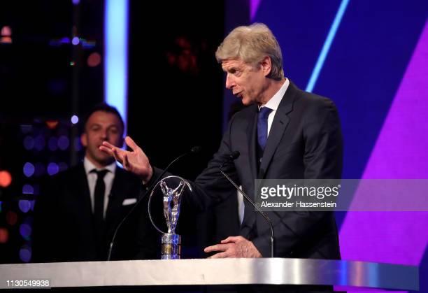 Arsene Wenger winner of the Laureus Lifetime Achievement award speaks on stage during the 2019 Laureus World Sports Awards on February 18, 2019 in...