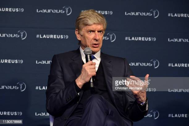 Arsene Wenger winner of the Laureus Lifetime Achievement award speaks at the Winners Press Conference during the 2019 Laureus World Sports Awards on...