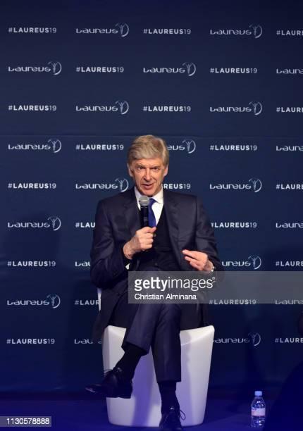 Arsene Wenger winner of the Laureus Lifetime Achievement award speaks at the Winners Press Conference during the 2019 Laureus World Sports Awards on...