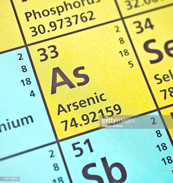 arsenic on the periodic table - periodic table stock photos and pictures