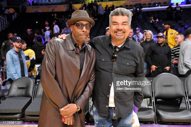 Arsenio Hall and George Lopez attend a basketball game between the Los Angeles Lakers and the Phoenix Suns at Staples Center on January 27 2019 in...
