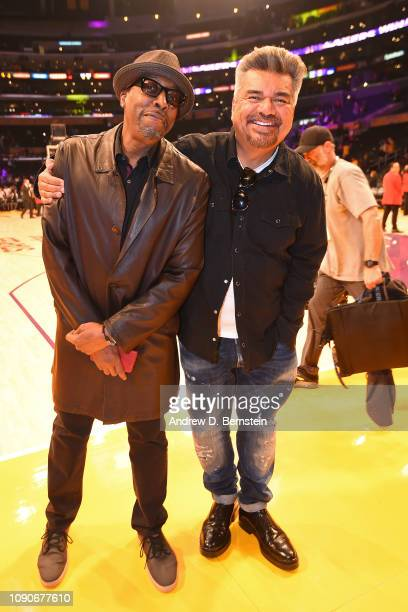 Arsenio Hall and George Lopez attend the game between the Los Angeles Lakers and Phoenix Suns on January 27 2019 at STAPLES Center in Los Angeles...