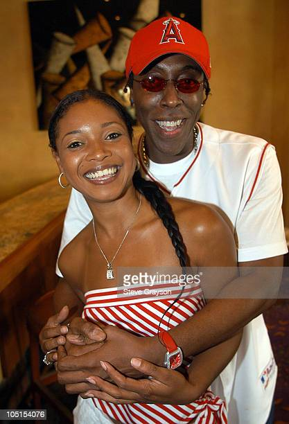 Arsenio Hall and Tamala Jones during 2003 Lady Of Soul Train Awards Nominations at Spagos in Beverly Hills, California, United States.