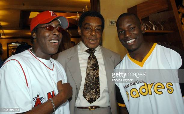Arsenio Hall Don Cornelius and Tyrese during 2003 Lady Of Soul Train Awards Nominations at Spagos in Beverly Hills California United States