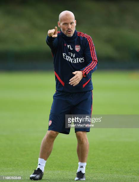 Arsenla assistant coach Freddie Ljungberg during a training session at London Colney on August 15 2019 in St Albans England
