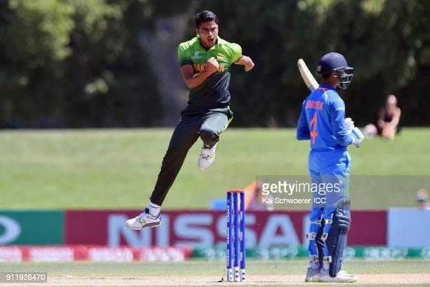 Arshad Iqbal of Pakistan celebrates after dismissing Abhishek Sharma of India during the ICC U19 Cricket World Cup Semi Final match between Pakistan...