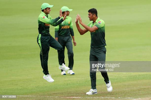 Arshad Iqbal of Pakistan takes a wicket during the ICC U19 Cricket World Cup match between Sri Lanka and Pakistan at Cobham Oval on January 19 2018...