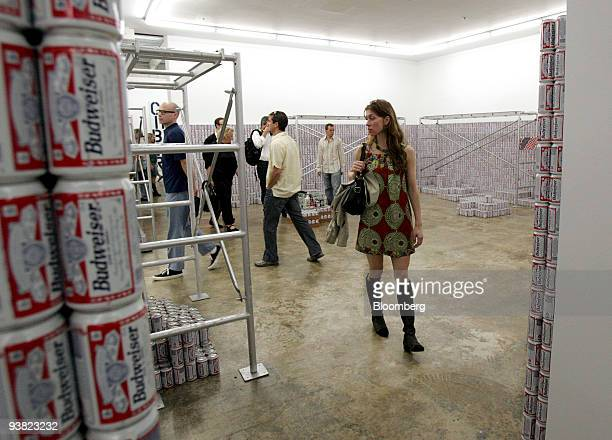 Art advisor Heather Flow walks through Cady's Noland's This Piece Has No Title Yet at the Rubell Family Collection during Art Basel Miami Beach in...