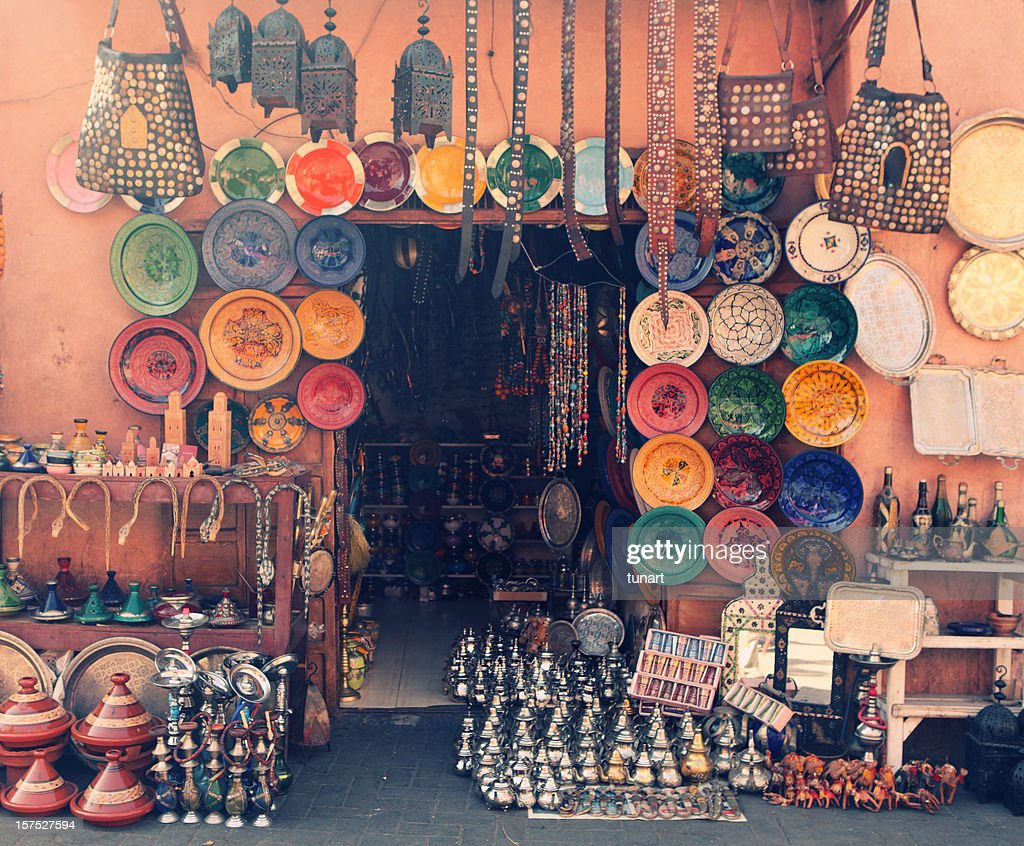 Art and craft shop in Marrakesh, Morocco : Stock Photo