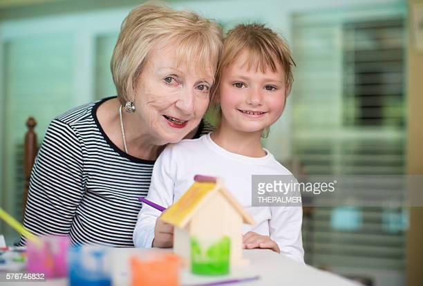art and craft with grandma - art and craft ストックフォトと画像