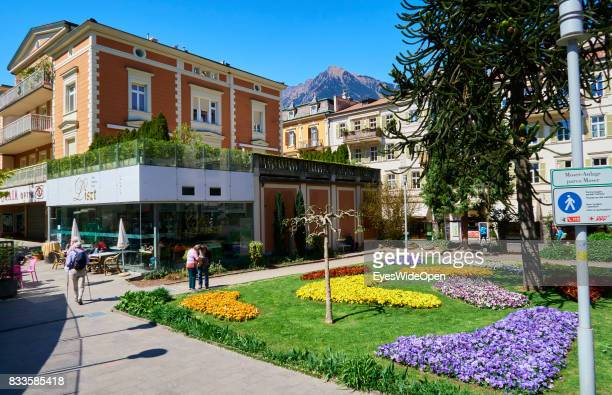 Art and hearts made from flowers in the green city centre of Meran in South Tyrol on April 21 2015 in Lana Italy