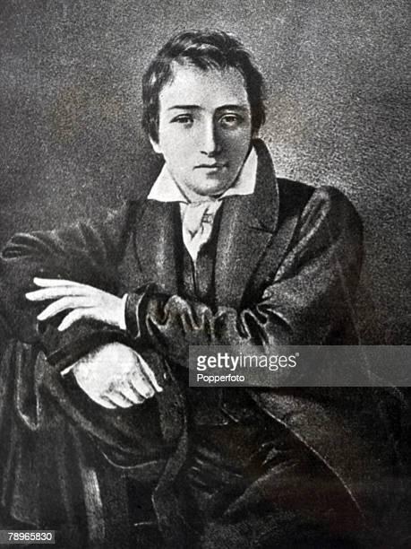 Art and Literature Circa 1830's Portrait of German author and poet Heinrich Heine