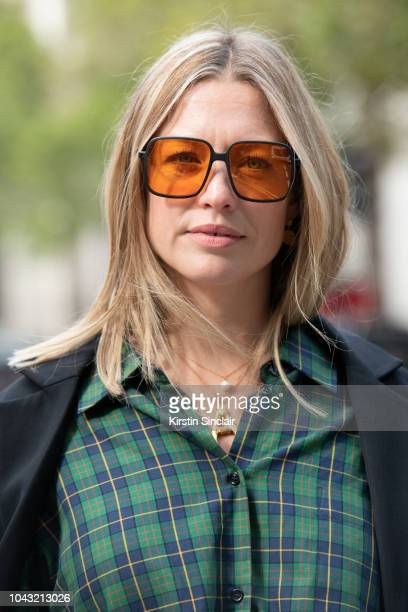 Art and Style Director Alexis Foreman wears Zara shirt HM blazer and Orgreen Optics sunglasses during London Fashion Week September 2018 on September...