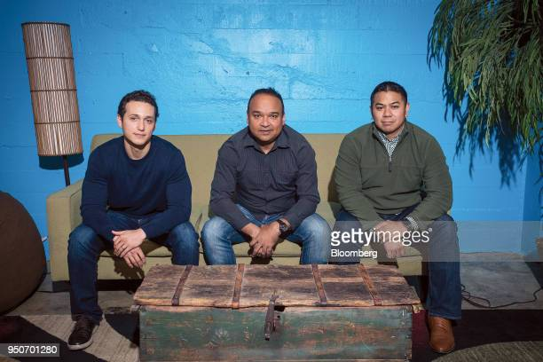 Art Armador cofounder and chief operating officer of Equbot from left Chida Khatua cofonder and chief executive officer of Equbot and Chris Natividad...