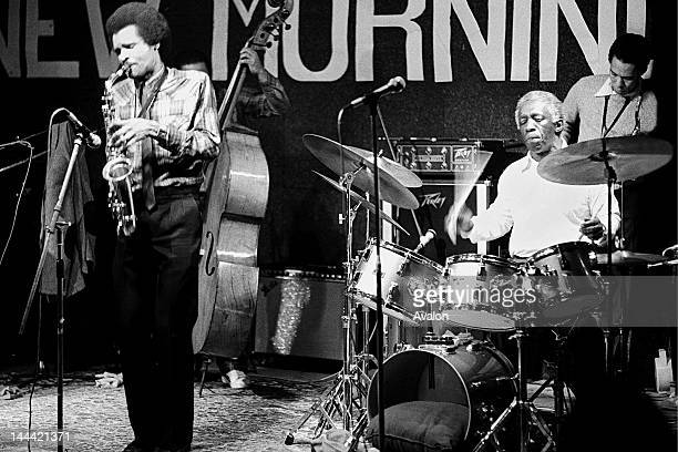 Art Blakey performing with his Jazz Messengers at the New Morning Club Geneva Switzerland in March 1981 Left to right Bobby Watson Charles Fambrough...