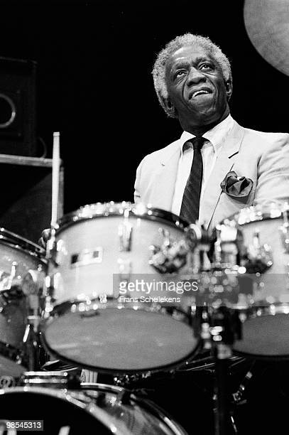 Art Blakey performs live on stage at Meervaart in Amsterdam, Netherlands on February 19 1984