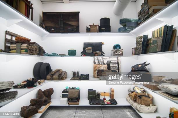 Art by Lara Favaretto is seen at the main pavilion of Giardini at the 58th International Art Biennale on May 07, 2019 in Venice, Italy. The 58th...