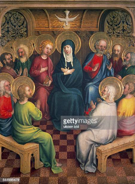 Pentecost Outpour of the holy spirit 2quarter of 15th cent Master of the Heisterbach AltarOld Pinakothek Munich