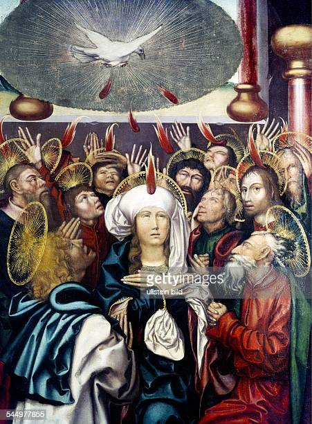 Pentecost Outpour of the Holy GhostPainting of Hans Fries Univ Mus of Fribourg CH