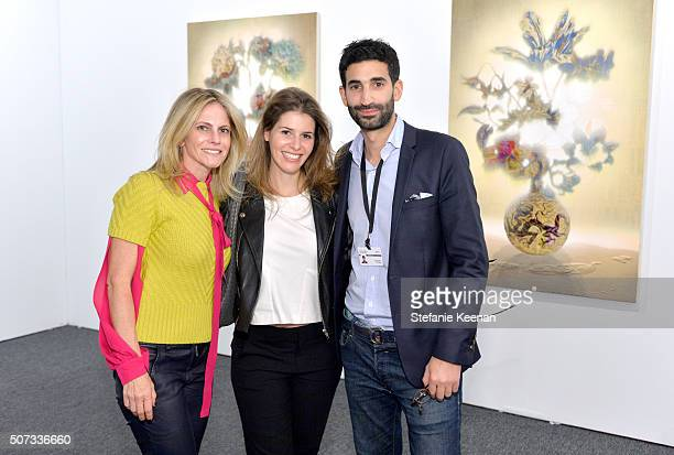 Art collector Allison Berg art dealer Jessica Kreps and gallerist Jeremy Epstein attend the Art Los Angeles Contemporary 2016 Opening Night at Barker...