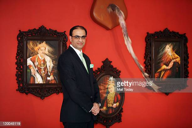 Art Collector Connoisseur and blogger Kapil Chopra at gallery Nature Morte where he is holding an exhibition
