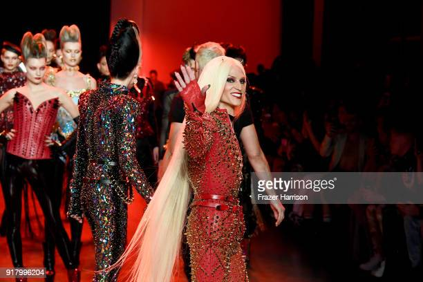 Art collector Daphne Guiness and Designer Phillipe Blond walk the runway for The Blonds during New York Fashion Week The Shows at Gallery I at Spring...