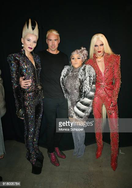 Art collector Daphne Guiness David Blonde Lil' Kim and Phillippe Blonde pose backstage for The Blonds during New York Fashion Week The Shows at...