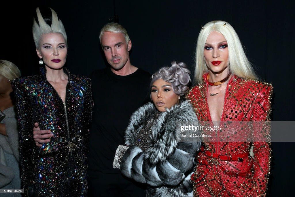 Art Collector Daphne Guiness, Designer David Blond, Lil' Kim, and Designer Phillipe Blond attends The Blonds front row during New York Fashion Week: The Shows at Gallery I at Spring Studios on February 13, 2018 in New York City.