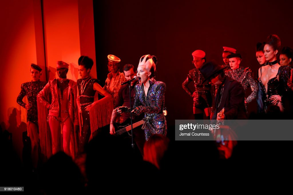 Art collector Daphne Guinness performs for The Blonds during New York Fashion Week: The Shows at Gallery I at Spring Studios on February 13, 2018 in New York City.