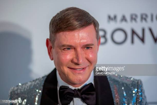 Art collector Eugene Sadovoy arrives to attend the Elton John AIDS Foundation Academy Awards Viewing Party in West Hollywood California on February...