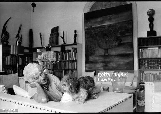Art Collector Peggy Guggenheim photographed in her personal museum The Peggy Guggenheim Collection on the Grand Canal in Venice Italy circa 1979