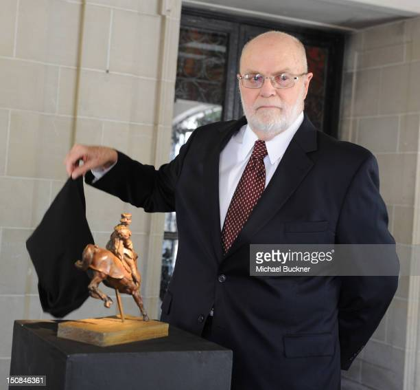 Art collector Richard A Lewis unveils the Leonardo da Vinci sculpture Horse And Rider at Greystone Mansion on August 27 2012 in Beverly Hills...