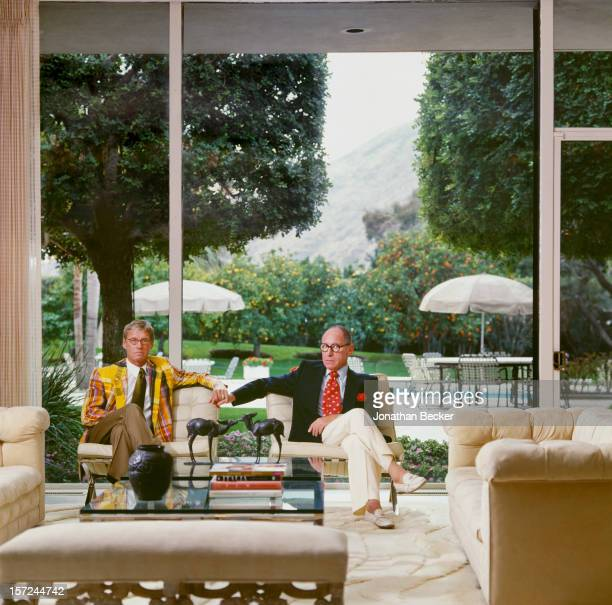Art collectors Wayne Boeck and Gordon Locksley are photographed for Vanity Fair Magazine on February 9, 1999 in Palm Springs, California. PUBLISHED...