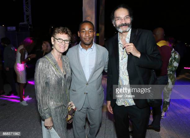 Art consultant Brenda Locke Franklin Sirmans Director of Perez Art Museum Miami and artist Hew Locke pose at PAMM Presents during Art Basel Miami...